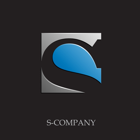 letter s: Vector sign initial letter S on black background