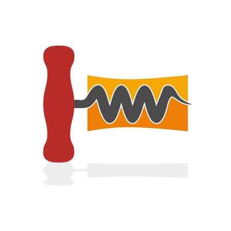 uncork: Vector sign wine and corkscrew Illustration