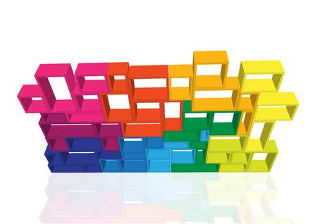 book racks: Vector modular shelving 3d