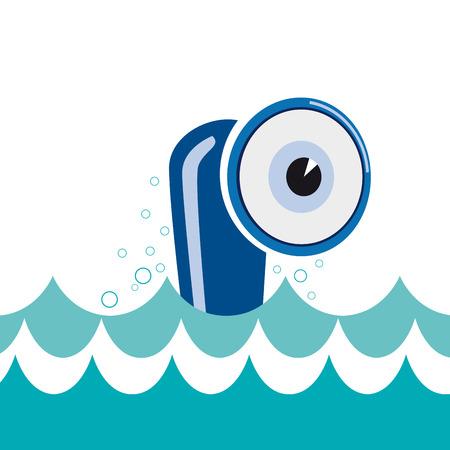 curious: Vector sign cheerful submarine curious eye