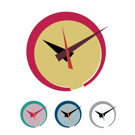record office: Vector sign abstract clock. Flat design