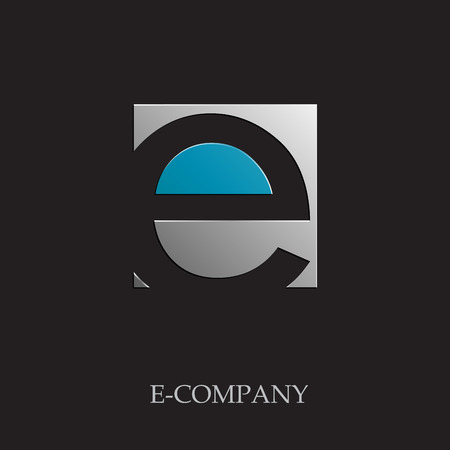 e alphabet: Vector sign initial letter E on black background