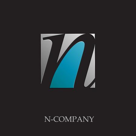N: Vector sign initial letter N on black background Illustration