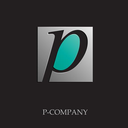 p illustration: Vector sign initial letter P on black background Illustration