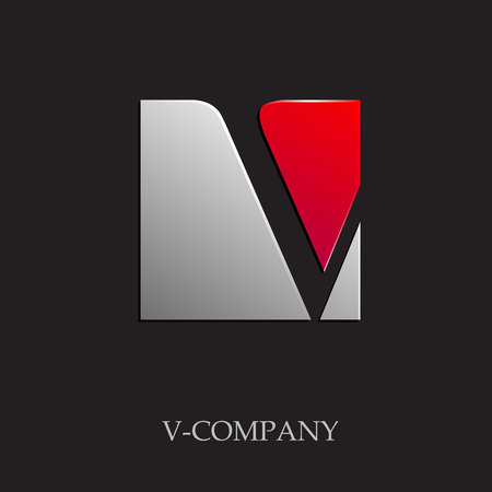 Vector sign initial letter V on black background