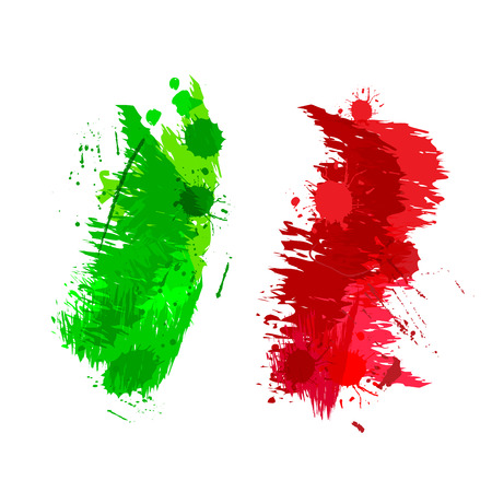 Colored splashes in abstract shape Italian flag