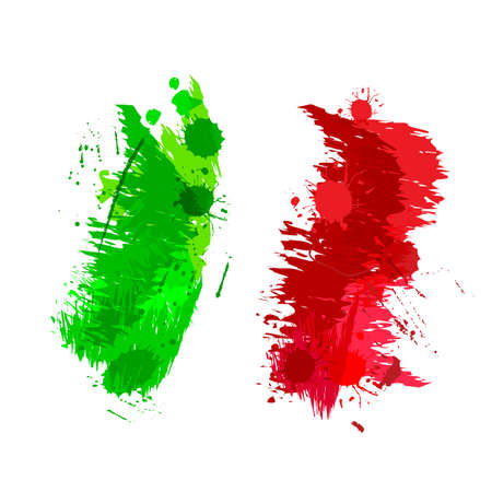 italian people: Colored splashes in abstract shape Italian flag