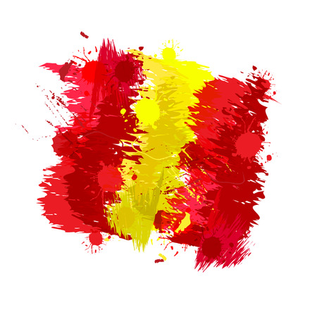 spanish flag: Colored splashes in abstract shape Spanish flag