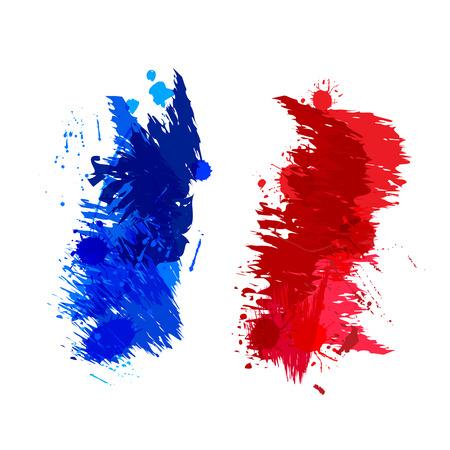 抽象的な形のフランスの国旗の色の水しぶき