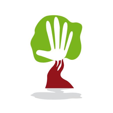 handbreadth: Vector sign green hand Illustration