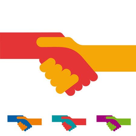 handclasp: Vector sign handshake. Flat design