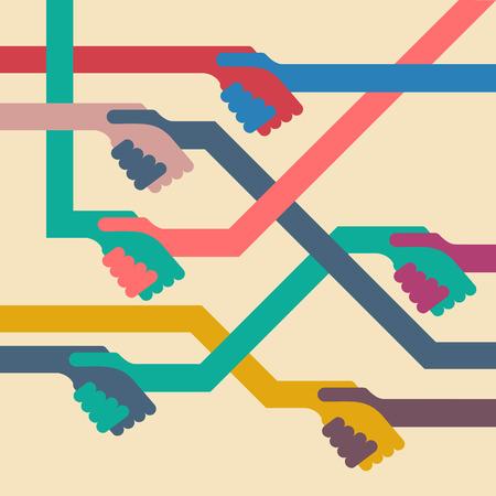 handclasp: Vector background handshake. Flat design