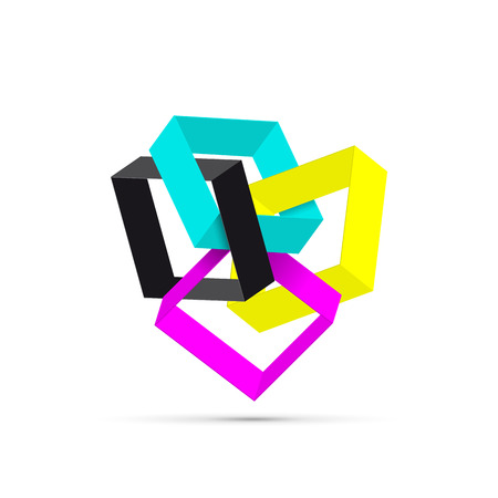 cmyk abstract: Vector abstract shape 3d CMYK for printer