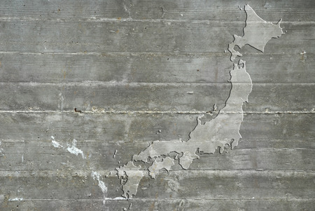 reinforced: Map of Japan on reinforced concrete