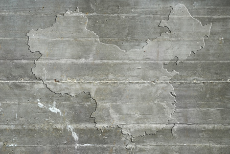 china chinese: Map of the China on reinforced concrete
