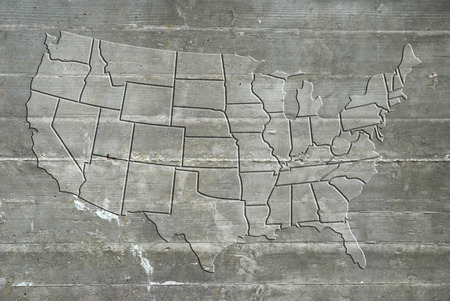 reinforced: Map of the United States of America on reinforced concrete