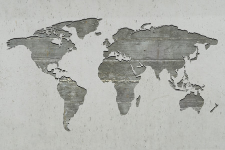 reinforced: World map on reinforced concrete Stock Photo