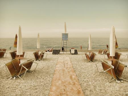 evocative: Vintage beach autumn to the sea