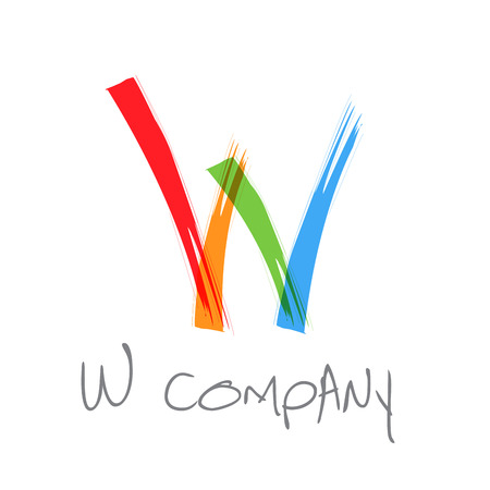 letter w: Vector initial letter W scrawled text