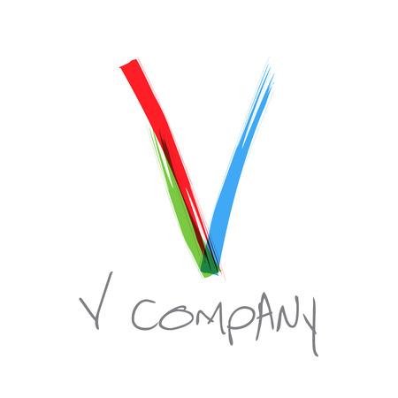 alphabet letter a: Vector initial letter V scrawled text Illustration