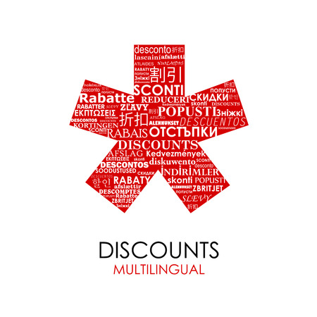 multilingual: Vector Asterisk with discounts for multilingual Illustration