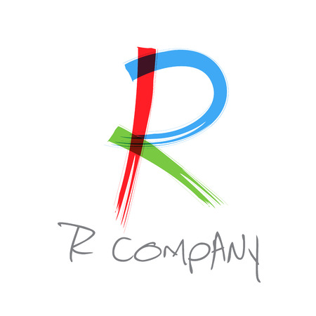 r: Vector initial letter R scrawled text Illustration