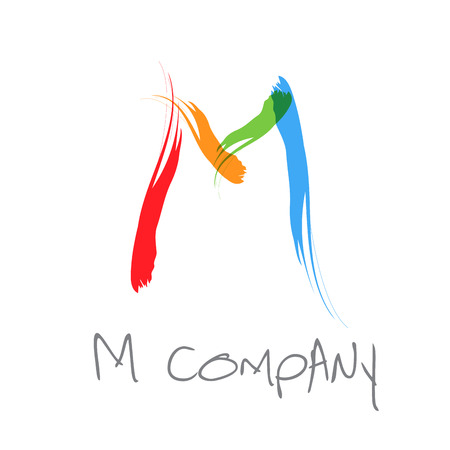 Vector initial letter M scrawled text