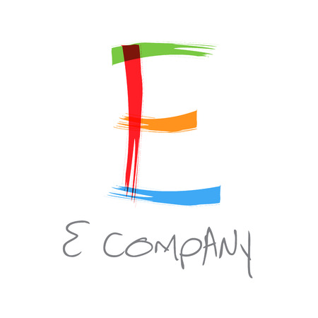 e ink: Vector initial letter E scrawled text
