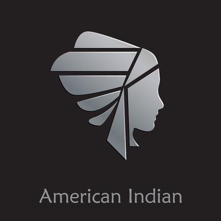 indio americano: Vector Regístrate indio americano sobre fondo negro Vectores