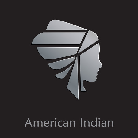 american history: Vector sign American Indian on black background