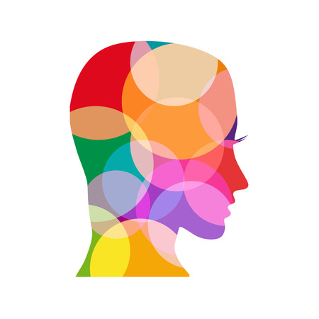 psicologia: Coloreado cabeza signo vector Vectores