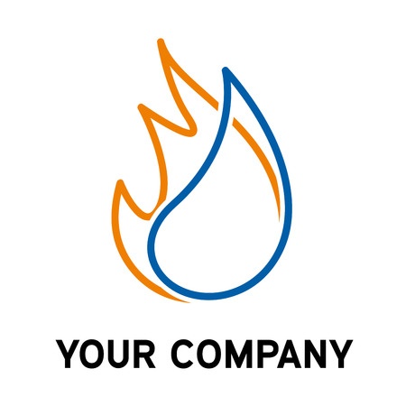 blue flame: Vector sign home energy Illustration