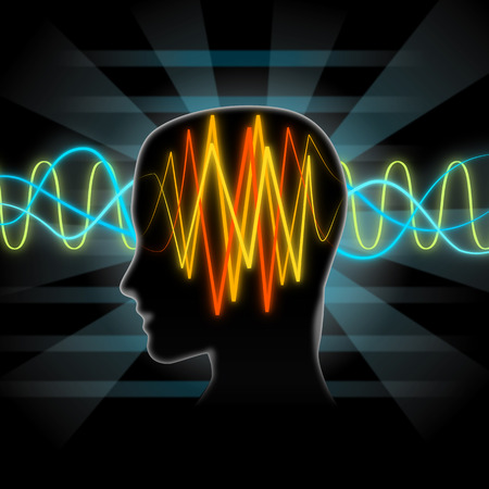 magnetism: Brain waves illustration Stock Photo
