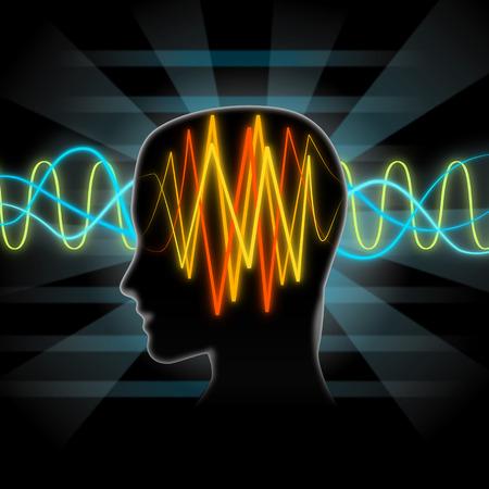 magnetismo: Las ondas cerebrales ilustración Foto de archivo