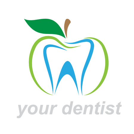 bite apple: Vector sign dentist. Bite the apple Illustration