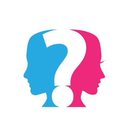 divorce: Vector concepto de Preguntas Parejas signo de interrogación