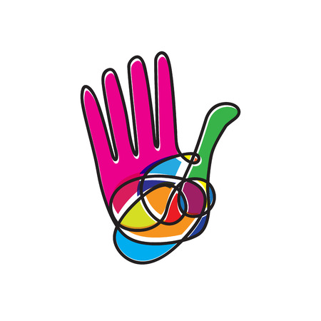 scribble: Vector sign scribble colorful hand