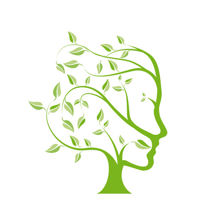agriculture symbol: Vector person ecological think green