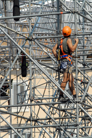 steeplejack: Safety at work. Workers on the scaffolding Stock Photo
