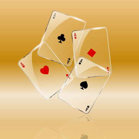 Abstract playing cards on golden background Stock Photo