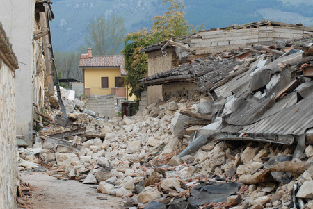 City destroyed by an earthquake