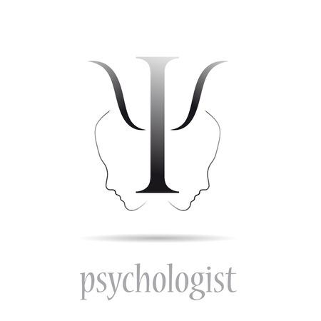 psychologist: Vector sign psychologist in white