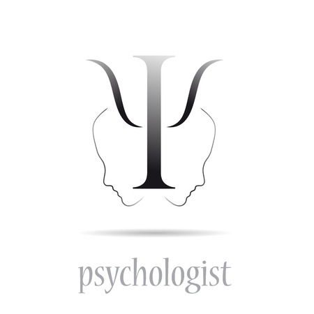 Vector sign psychologist in white