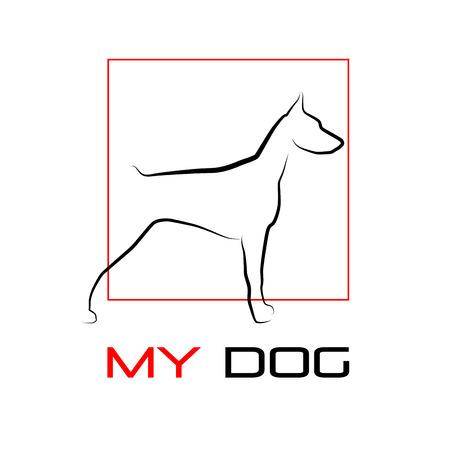 doberman: Vektor-Zeichen Hund doberman Illustration