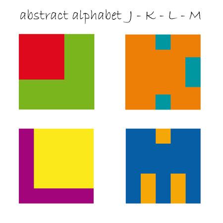 letter j: Vector color initial letter J K L M