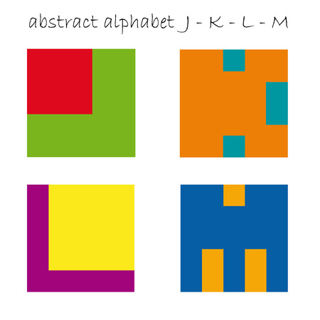 Vector color initial letter J K L M