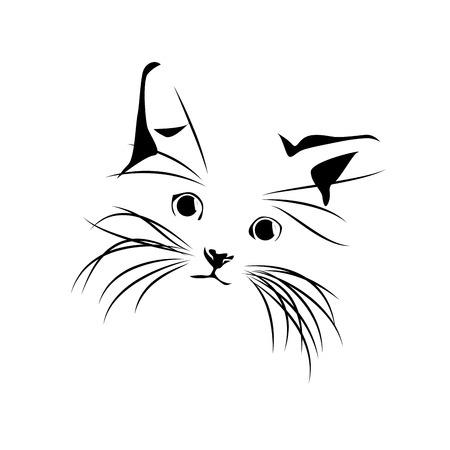 animalitos tiernos: Dibujo del gato abstracto del vector Vectores