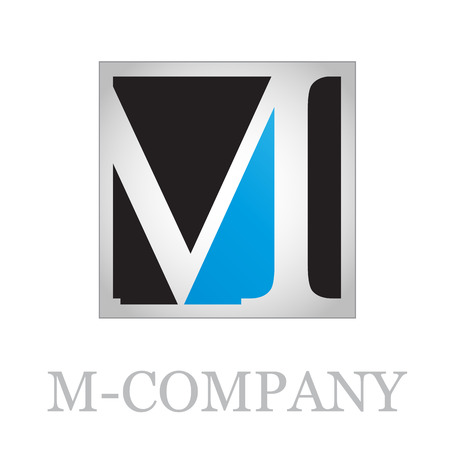 m: Vector button initial letter M on black background