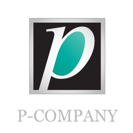 p illustration: Vector button initial letter P on black background