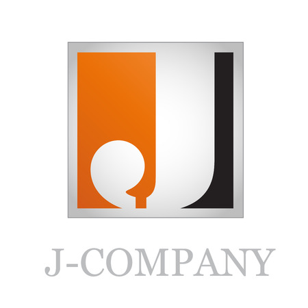 j: Vector button initial letter J on black background